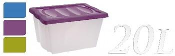 Úložný box 20 l plastový, fialový