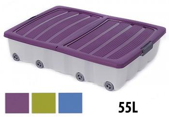 Úložný box pojízdný s klip víkem 55 l plastový 80x60x17 cm, zelený