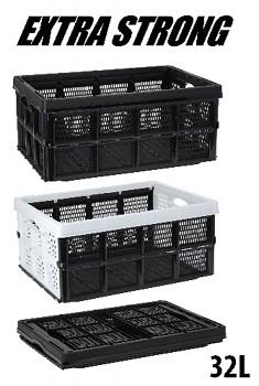 Přepravka plastová skládací 32 l, 48 x 35 x 24 cm, černá