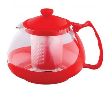 Konvice na čaj sklo plast 750 ml červená