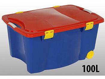 Úložný box pojízdný 100 l plastový 45x55x80 cm