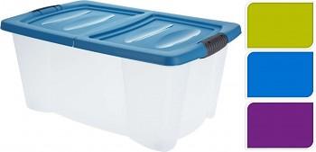 Úložný box s klip víkem 39 l plastový 60x40x27 cm modrý