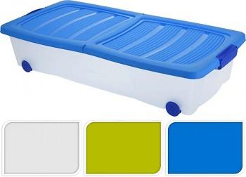 Úložný box pojízdný s klip víkem 32 l plastový 79x38x17 cm bílá