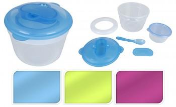 Svačinový box s chladící vložkou sada 2ks, kulatá, modrá