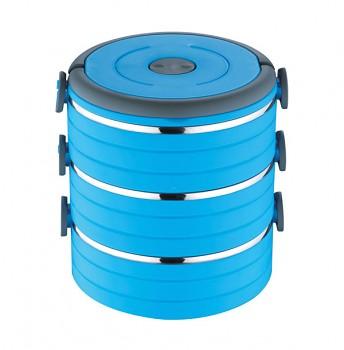 Jídlonosič třípatrový, 16,5 x 16,5 cm, 1,8l , modrá