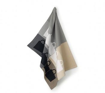 Utěrka TABEA 100% bavlna, dekor hrnek, béžová / šedá 50x70cm