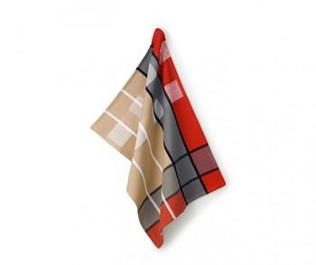 Utěrka TABEA 100% bavlna, dekor kostka, béžová / červená / šedá 50x70cm