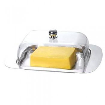 Dóza na máslo s akrylovým víkem nerez