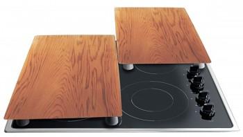 Krycí desky na sporák / prkénko sada 2 ks design dřevo