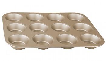 Forma na muffiny s nepřilnavým povrchem 12 ks zlatá