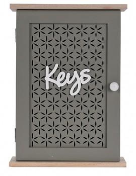 Skříňka na klíče dekorativní 28x20x7cm šedá
