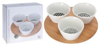 Servírovací misky porcelán na bambusovém podnose 3 ks
