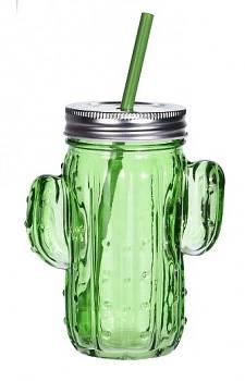 Sklenice na limonádu s brčkem 400 ml CACTUS zelená