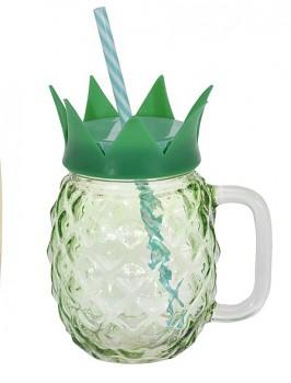 Sklenice na limonádu s brčkem 400 ml ANANAS zelená