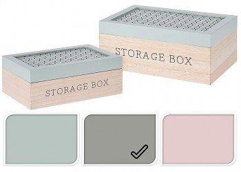 Úložný box dřevo sada 2 ks šedá