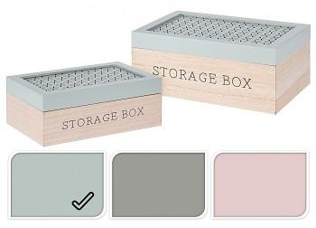 Úložný box dřevo sada 2 ks zelená