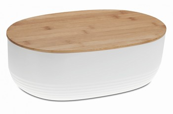Chlebník NAMUR plast / dřevo bílá