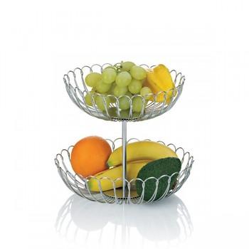 Košík na ovoce PRATO dvě patra, ušlechtilá ocel O25cm, O22cm x v22cm