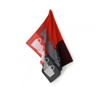 Utěrka TABEA 100% bavlna, dekor hrnek, červená / šedá 50x70cm