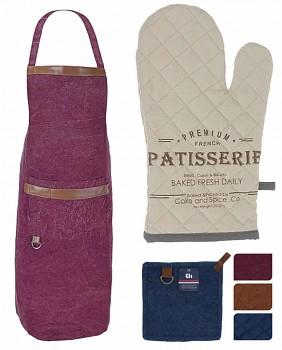 Sada kuchyňského textilu STONE 3 ks vínová, zástěra, rukavice, chňapka