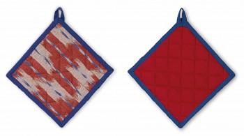 Čtvercová chňapka ETHNO 100% bavlna, červená, 20x20cm